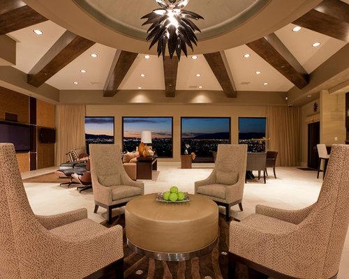 Huge contemporary living room idea in Las Vegas with beige walls