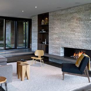 Esempio di un soggiorno design aperto con parquet scuro, camino lineare Ribbon, cornice del camino in pietra e pavimento marrone