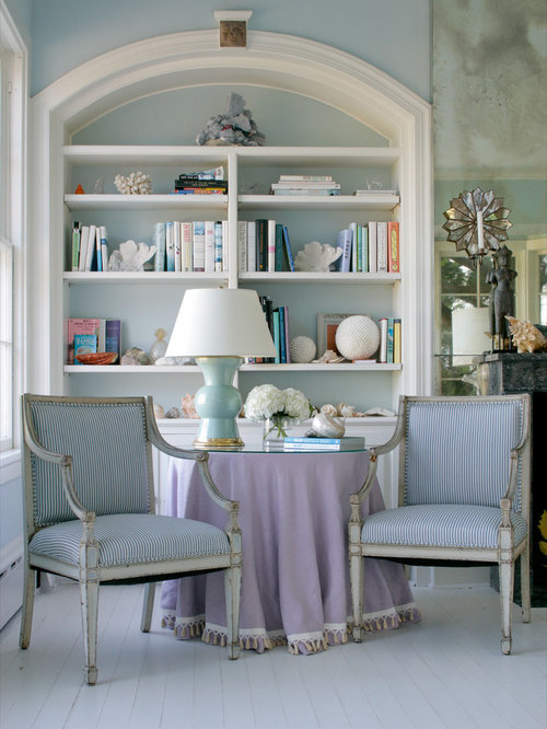 Inspiration For A Large Beach Style Living Room Remodel In New York With  Blue Walls