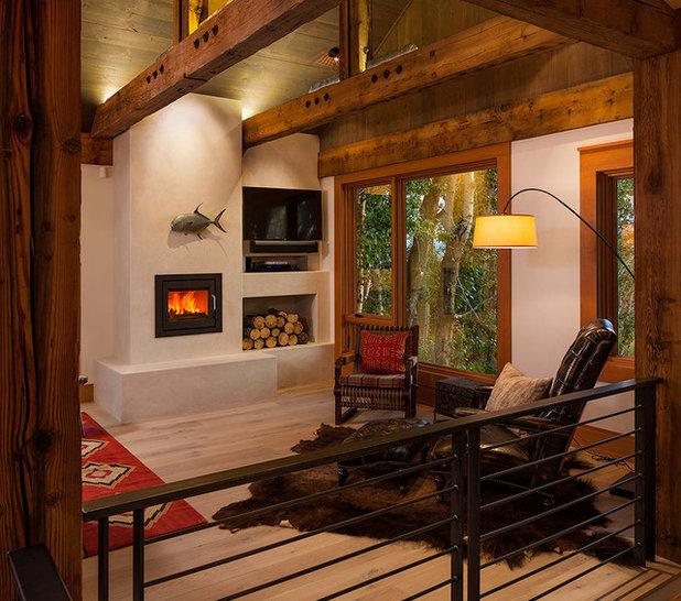 Rustic Living Room by Dovetail Construction