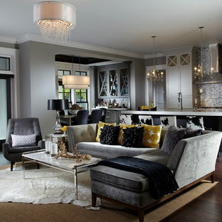 This is an example of a medium sized classic formal open plan living room in Miami with grey walls, dark hardwood flooring, no fireplace, no tv and brown floors.