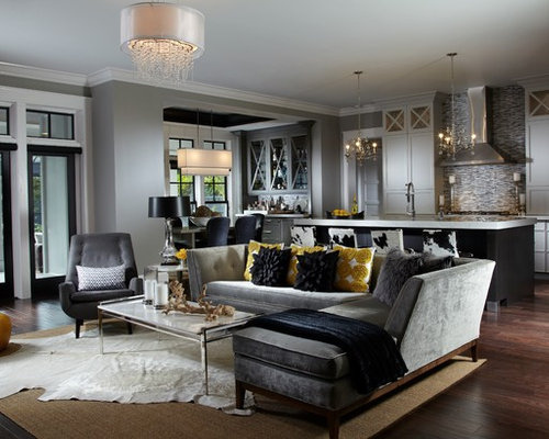 transitional open concept living room photo in other with gray walls