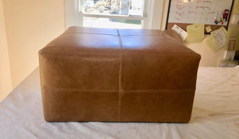 Leather Ottoman: waiting very patiently for the feet