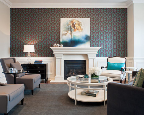 wallpaper on a fireplace wall houzz - Design Fireplace Wall