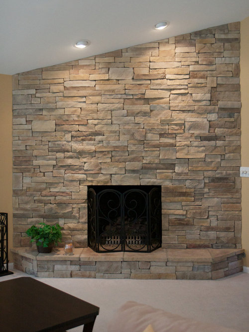 Dry Stack Fireplace Home Design Ideas, Pictures, Remodel and Decor