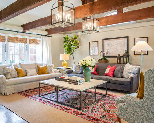 living room with two couches. Large elegant family room photo in Dallas with beige walls Two Different Couches  Houzz