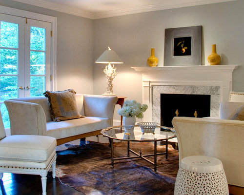 Example Of A Large Classic Open Concept Living Room Design In Philadelphia With Gray Walls