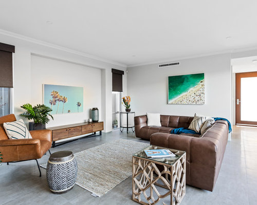 beach living room ideas. This is an example of a beach style formal open concept living room in  Perth with Beach Style Living Room Design Ideas Renovations Photos