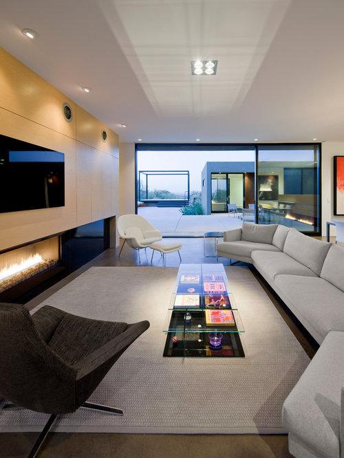 Salon moderne avec une cheminée ribbon : Photos et idées déco de salons