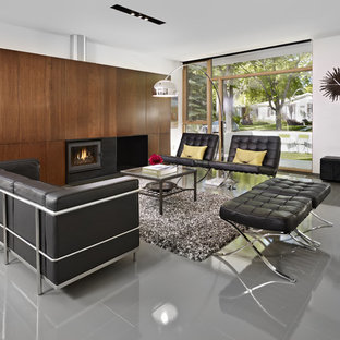 Living room - modern living room idea in Edmonton with white walls and a standard fireplace