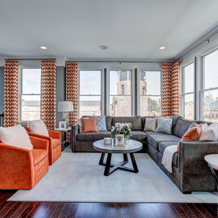 Living room - large transitional formal and loft-style dark wood floor and brown floor living room idea in DC Metro with gray walls and no tv