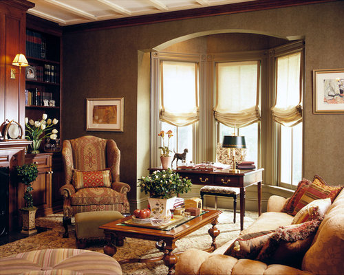 Bay window treatment ideas houzz Window treatments for bay window in living room