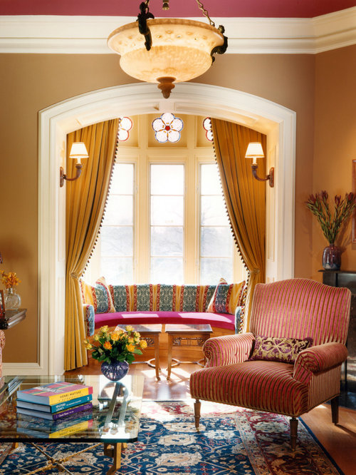 Bay window curtains houzz - Living room with bay window ...