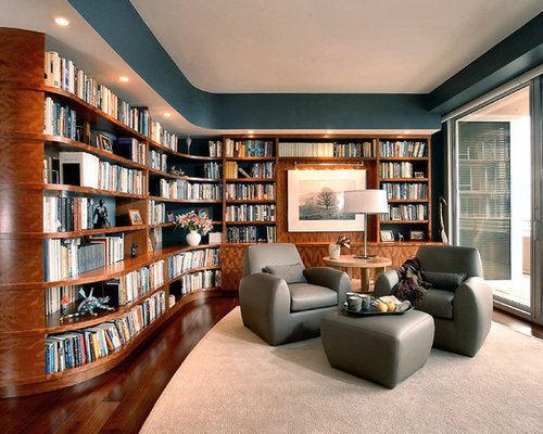 Modern living room library idea in Chicago