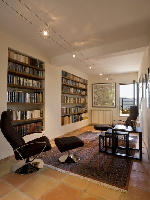Tuscan Living Room Photo In Marseille With A Library