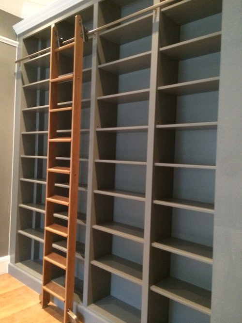 bookcase with rolling ladder