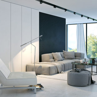 Perfect Living Room   Contemporary White Floor Living Room Idea In New York With  Black Walls,