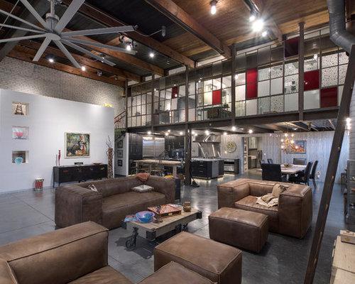wohnzimmer im loft style mit betonboden design ideen bilder beispiele houzz. Black Bedroom Furniture Sets. Home Design Ideas