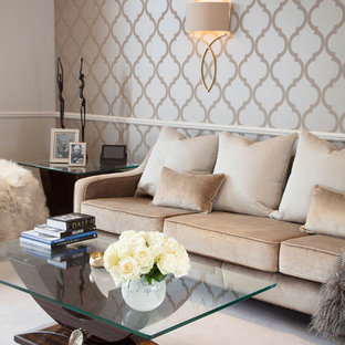 Design ideas for a large traditional enclosed living room in London with multi-coloured walls.