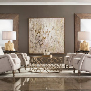 Example of a mid-sized transitional formal concrete floor and beige floor living room design in Atlanta with gray walls and no tv