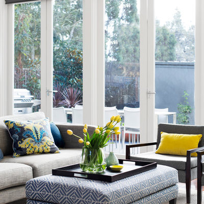 Living room - mid-sized contemporary open concept living room idea in Melbourne