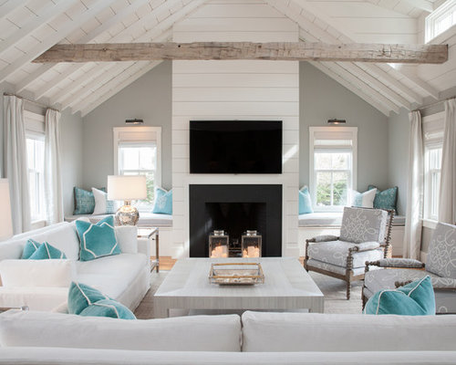Inspiration For A Large Beach Style Formal And Open Concept Light Wood Floor Living Room Remodel