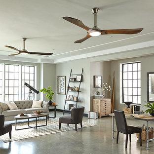 ニューヨークの巨大な北欧スタイルのおしゃれなLDK (フォーマル、グレーの壁、コンクリートの床、暖炉なし) の写真