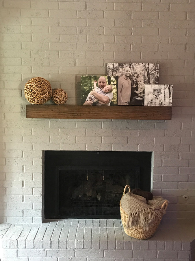 Lightly distressed fireplace mantel