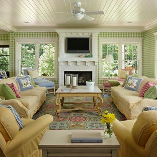 Inspiration for a traditional living room in Other with multi-coloured walls and a wall mounted tv.
