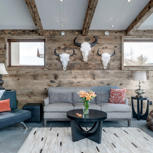 Inspiration for a small rustic open plan living room in Other with concrete flooring, grey floors and brown walls.