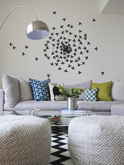 Living room wall art houzz for Artistic living room ideas