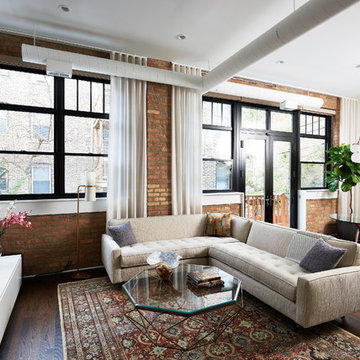 Lincoln Park Residence with custom sheer drapery and roller shades