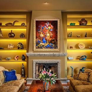 フェニックスの広いトランジショナルスタイルのおしゃれな独立型リビング (フォーマル、ベージュの壁、カーペット敷き、テレビなし) の写真