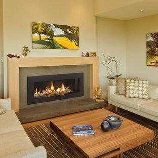 Imagen de salón para visitas cerrado, contemporáneo, de tamaño medio, sin televisor, con paredes beige, suelo de madera en tonos medios, chimenea lineal y marco de chimenea de hormigón
