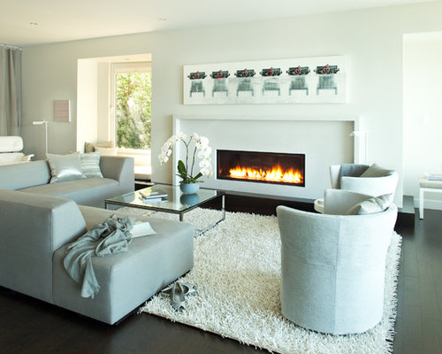 Beautiful Contemporary Living Room Idea In Vancouver With White Walls And A Ribbon  Fireplace