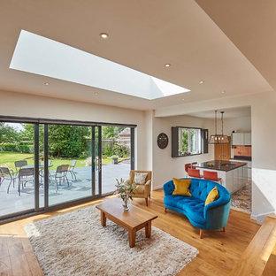 Diseño de salón abierto, minimalista, grande, sin chimenea, con suelo de madera en tonos medios, televisor colgado en la pared y suelo naranja