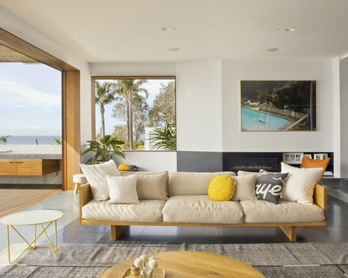 This Is An Example Of A Large Contemporary Open Concept Living Room In  Sydney With White Part 60