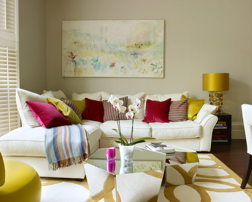 Inspiration For A Small Contemporary Open Concept Living Room Remodel In London With Beige Walls And