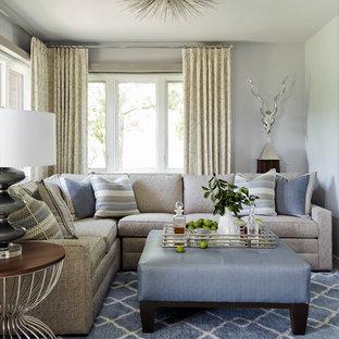 Diseño de salón abierto, clásico renovado, pequeño, sin chimenea y televisor