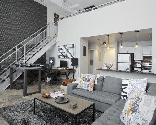 Wohnzimmer im Loft-Style mit Schieferboden Ideen fürs Einrichten ...