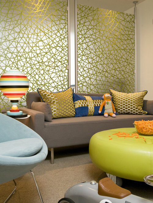 Inspiration For A Contemporary Living Room Remodel In Other With White Walls
