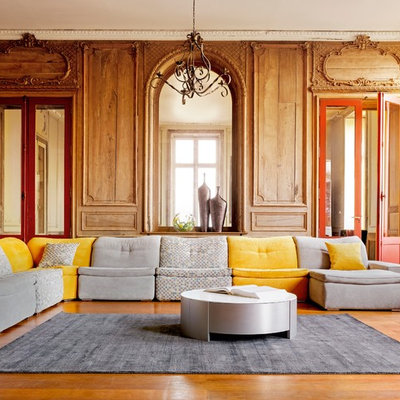 Example of a trendy formal and enclosed living room design in London