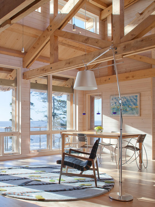 Mountain Style Living Room Photo In Portland Maine With Light Hardwood Floors