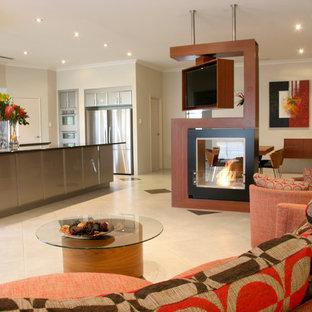 パースの広いコンテンポラリースタイルのおしゃれなLDK (フォーマル、白い壁、セラミックタイルの床、両方向型暖炉、木材の暖炉まわり、テレビなし、白い床) の写真