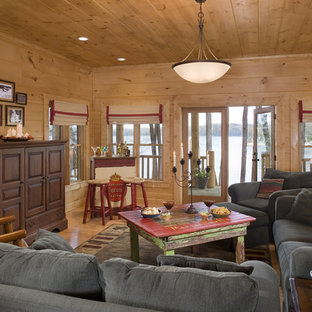 Living area in rustic round log home