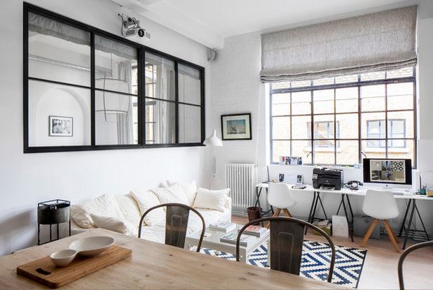Contemporary Living Room by LAURA LAKIN DESIGN & Houzz Tour: Black White and Scandinavian-Industrial All Over