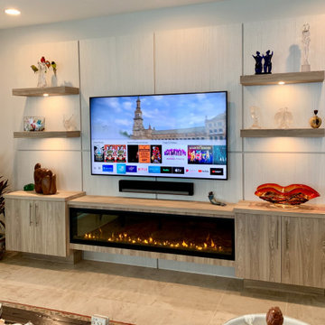 Living area media unit with fireplace