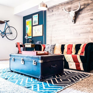 Eclectic living room furniture Sophisticated Example Of An Eclectic Carpeted And Beige Floor Living Room Design In Los Angeles With Blue Houzz 75 Most Popular Eclectic Living Room Design Ideas For 2019 Stylish