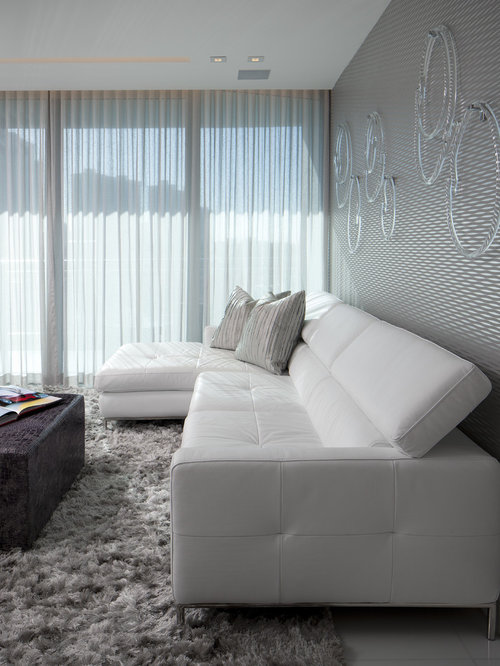 Example Of A Mid Sized Minimalist Formal Living Room Design In Miami With  Gray Walls