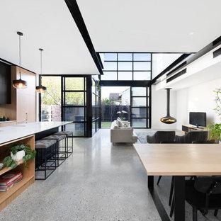 Esempio di un soggiorno minimal di medie dimensioni e stile loft con pareti bianche, pavimento in cemento, camino sospeso e TV autoportante